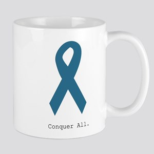 Conquer All. Teal Ribbon Mugs
