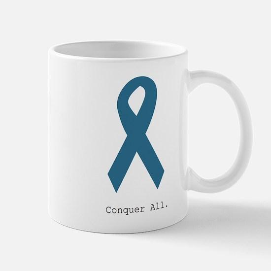 Conquer All. Teal Ribbon Mugs