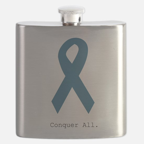 Conquer All. Teal Ribbon Flask