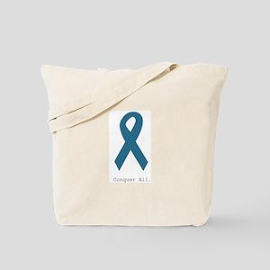 Conquer All. Teal Ribbon Tote Bag