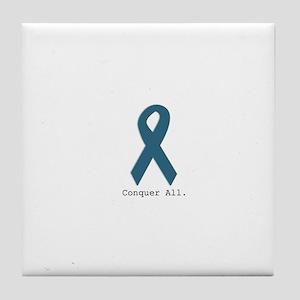 Conquer All. Teal Ribbon Tile Coaster