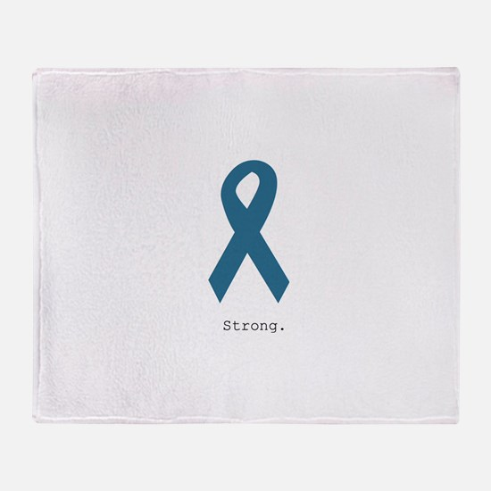 Strong. Teal Ribbon Throw Blanket