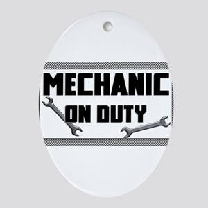 mechanic on duty Oval Ornament