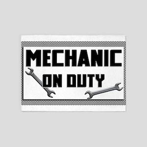 mechanic on duty 5'x7'Area Rug