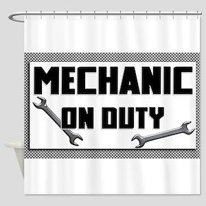mechanic on duty Shower Curtain