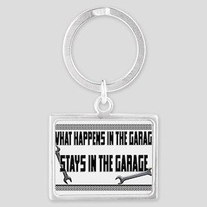 garage stays in garage Keychains