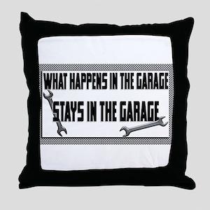 garage stays in garage Throw Pillow