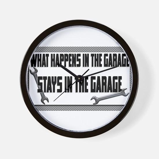 garage stays in garage Wall Clock