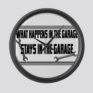 garage stays in garage Large Wall Clock