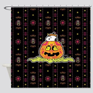 Day of the Dead Snoopy Pumpkin Shower Curtain
