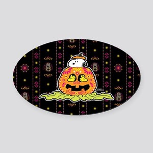 Day of the Dead Snoopy Pumpkin Oval Car Magnet