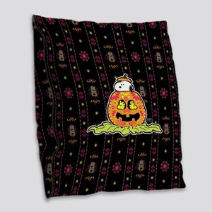 Day of the Dead Snoopy Pumpkin Burlap Throw Pillow