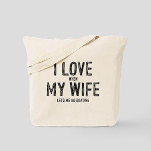 I Love My Wife Boating Tote Bag