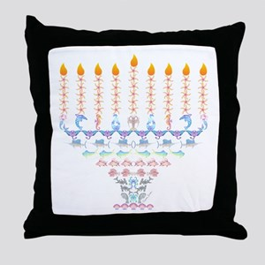 Marine Menorah Throw Pillow