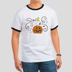 Peanuts Snoopy Sketch Pumpkin Ringer T