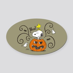 Peanuts Snoopy Sketch Pumpkin Oval Car Magnet