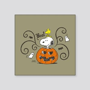 "Peanuts Snoopy Sketch Pumpk Square Sticker 3"" x 3"""