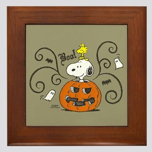 Peanuts Snoopy Sketch Pumpkin Framed Tile