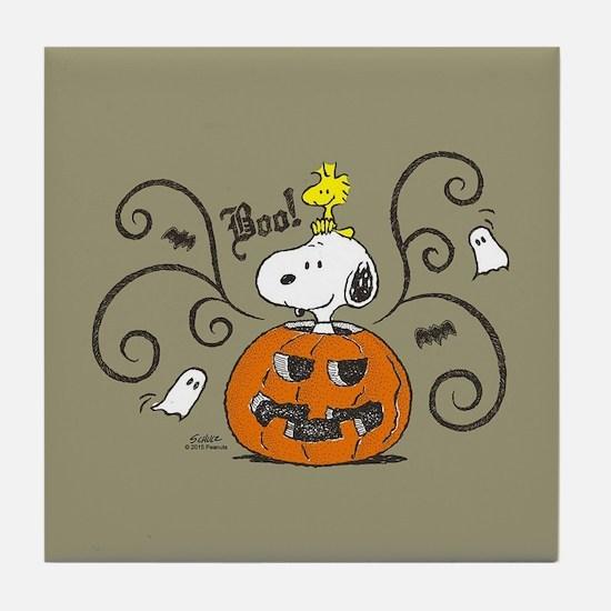 Peanuts Snoopy Sketch Pumpkin Tile Coaster