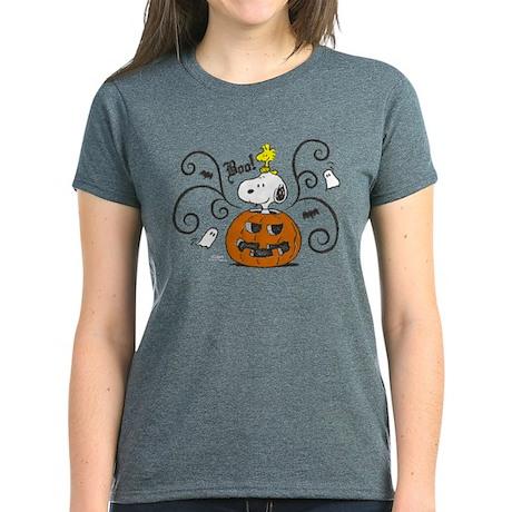 Peanuts Snoopy Sketch Pumpkin Women's Dark T-Shirt