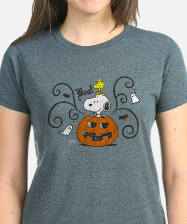 Peanuts Snoopy Sketch Pumpkin Women's Dark T-Shirt