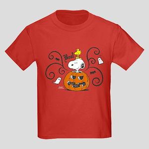 Peanuts Snoopy Sketch Pumpkin Kids Dark T-Shirt