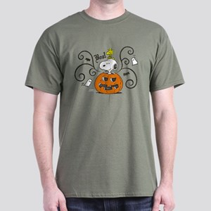 Peanuts Snoopy Sketch Pumpkin Dark T-Shirt
