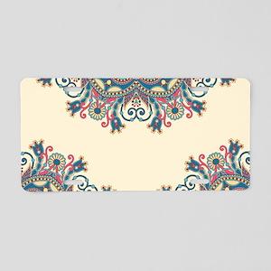 Floral Pattern Aluminum License Plate