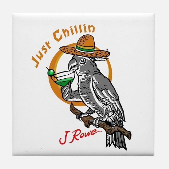 J Rowe Just Chillin Cockatoo Tile Coaster