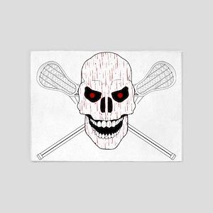 Bloody Lacrosse Skull 5'x7'Area Rug