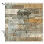 Vintage Jellyfish Rustic Modern Shower Curtain