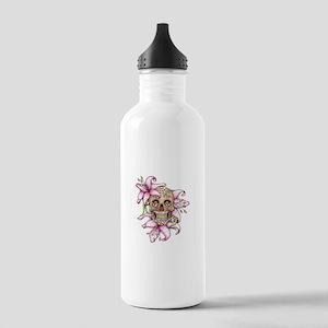 Pink Rocker Sugar Skull Water Bottle
