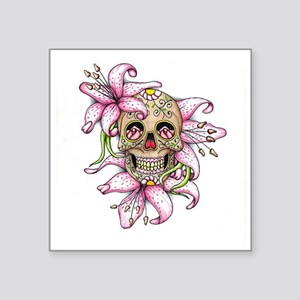 Pink Rocker Sugar Skull Sticker