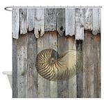 Rustic Barn Wood Nautilus Sea Shell Shower Curtain