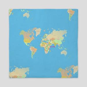 world map Queen Duvet