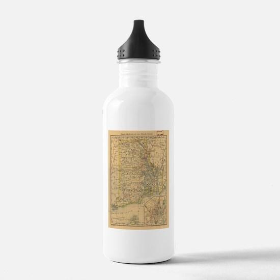 Vintage Map of Rhode I Water Bottle