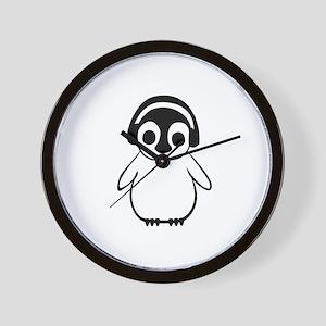 Penguin Enjoys Music Wall Clock