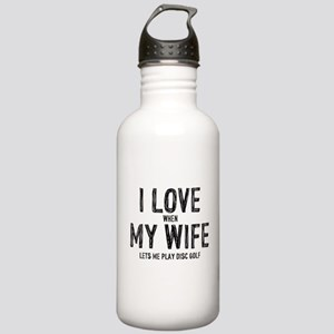 I Love My Wife - Disc Golf Water Bottle