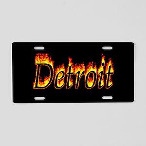 Detroit Flame Aluminum License Plate