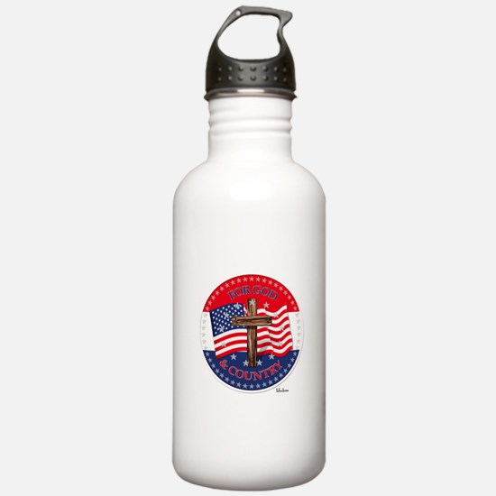 FOR GOD And COUNTRY With Cross And Flag Water Bott