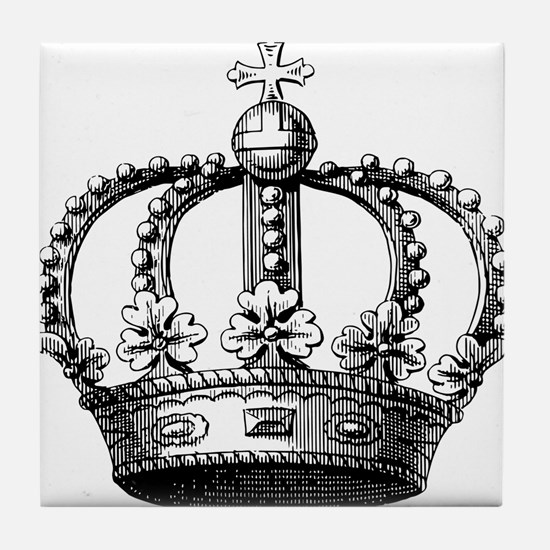 King's Crown Black White Tile Coaster