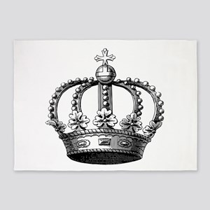 King's Crown Black White 5'x7'Area Rug