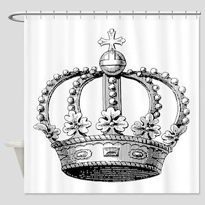 King's Crown Black White Shower Curtain