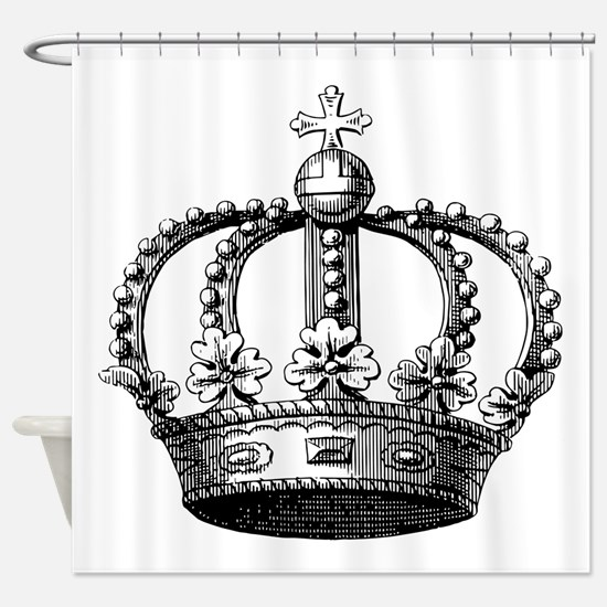 King's Crown Black White Shower Curtain