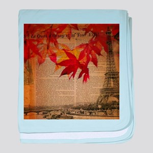 vintage paris landscape fall leaves baby blanket