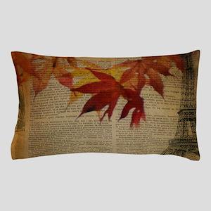 vintage paris landscape fall leaves Pillow Case