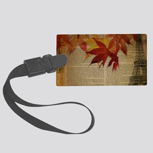 vintage paris landscape fall le Large Luggage Tag