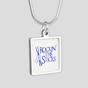 ROCKIN' THE STICKS Silver Square Necklace