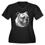 English Bulldog Women's Plus Size V-Neck Dark T-Sh