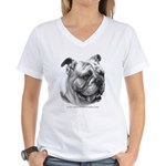 English Bulldog Women's V-Neck T-Shirt